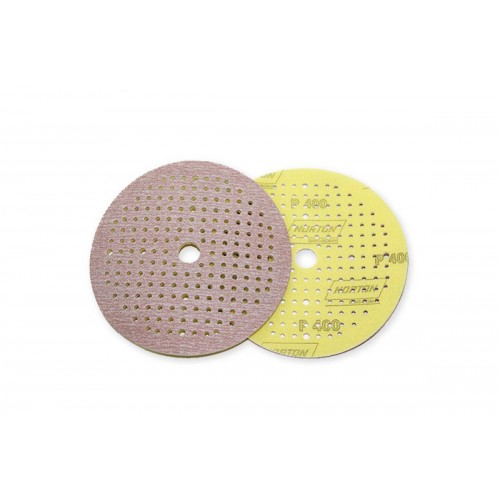 NORTON Круг абразивный на поролоне P400 желтый 150мм 180 отверстий